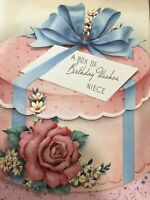 Vintage Birthday Card 40s Hat Box Pink Light Blue Rose Niece Lace Corsage