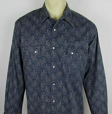 Mens Wrangler Wrancher shirt Western Pearl snap long sleeve Paisley Size XL