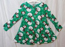 NEW! Womens Green Long Sleeve Xmas Festive Snowman Swing Dress Size 14-16 18-20