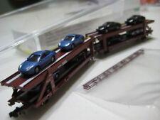 Trix Minitrix (Germany) Autotransporter Railroad Cars w/ Porsche Cars 1:220 NIB