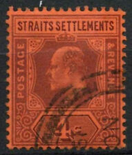 Malaya Straits Settlements 1902-3 SG#112, 4c Purple/Red KEVII Used #A81926