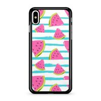 Pink Watermelon Fresh Fruit Slices Blue Stripes Pattern 2D Phone Case Cover