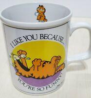 Vintage 1978 Garfield Coffee Mug I Like You Because You're So Funny Jim Davis