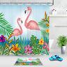 Tropical Pink Flamingo Flowers Leaf Bathroom Polyester Fabric Shower Curtain Set