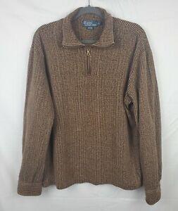 Polo Ralph Lauren Men's Striped Brown Quarter Zip Long Sleeve Pullover sz L
