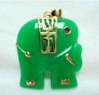 Pretty! Green Jade Elephant Pendant Necklace 18'' AAA Grade