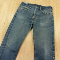 LEVI's 505 fit mens denim jeans 36 x 34 tag dark wash blue distressed faded worn
