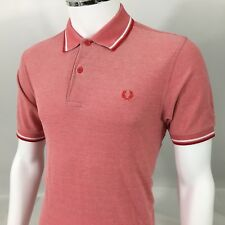 Fred Perry Mens Polo shirt M medium 40 red white twin casuals slim fit  £65