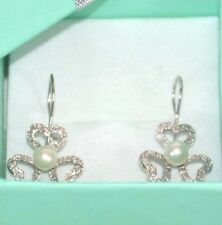0.50ct. Genuine Diamond Drop Earring 14K solid White Gold & Pearl Lever Back