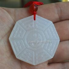 Natural White Afghan Jade Carved Chinese BaGua Lucky Pendant + Rope Necklace