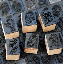 Art Nouveau Linen Stamp Monogram Initial Stencil Stamp on 250 for selection