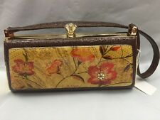 Debbie Brooks Brown Gold Clasp Handbag Evening Bag Handle New RED WICKER FLOWERS