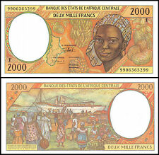 Central African States 2,000(2000)Francs,1999,P-303Ff,UNC,PREFIX-F. C A Republic