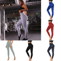 Women Ruched Push Up Leggings Yoga Pants Anti Cellulite Sports Slim Fit Trousers