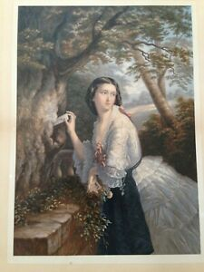 """19th Century George Baxter Oil Print """"The Love Letter"""" 1866 by Jessie McLeod"""