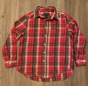 EUC Ralph Lauren POLO Boys Plaid Button-up Shirt Red Brown M Medum 10 12