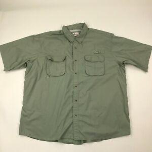 World Wide Sportsman Men Green Button Down Short Sleeve Breathable Shirt sz 3XL