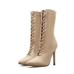 Super High Heel Stretch Lace-Up Mid Boots Fashion Pointed Stiletto Women Shoes
