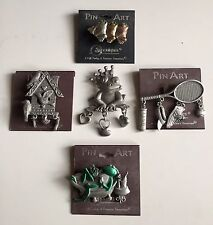Spoontiques Pin Art Brooch Pin Collection Five Metal And Enamel Pieces Carded