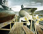 Submarines in Dry Dock by English  Eric Ravilious. Canvas War Art. 11x14 Print