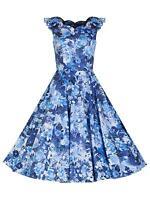 Retro 1950s Scalloped Neck Blue Vintage Floral Print Full Circle Tea Dress 8-18