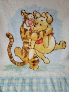 Vintage Winnie the Pooh Tigger Hugging Soft Fleece Baby Blanket Disney Plush Vtg