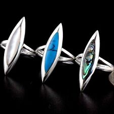 Women 925 Silver Silver Lab Turquoise Onyx Abalone Blue White Blue Marquise Ring