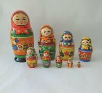"9 Vintage Matpewka Russian Nesting Dolls Handcrafted SIGNED 7.25"" Tall"