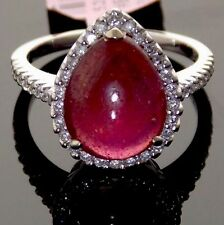 5.73CT NATURAL RUBY & DIAMOND HALO 14K WHITE GOLD SOLITAIRE ENGAGEMENT RING