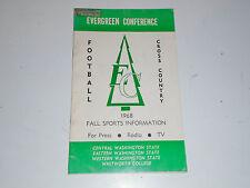 1968 Evergreen Conference College Football League Guide 4 Schools Washington