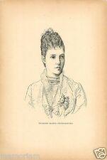 Maria Feodorovna Dagmar of Denmark Empress RUSSIA RUSSIE ANTIQUE PRINT 1893