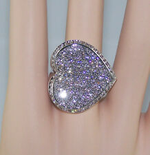 ALAMODE SIZE 10 LARGE PAVE HEART RHODIUM EP STATEMENT RING aaaGRADE CZ
