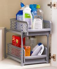 2-Tier Sliding Cabinet Drawer Baskets Organize Kitchen Bathroom Laundry - Gray
