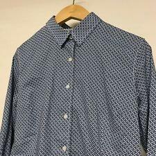 Ganesh Mens Blue / White Patterned Long Sleeve Shirt Button Down - Size 3 Large