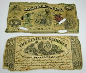 Confederate Currency $20 $1 Georgia Railroad Milledgeville Macon Lot of 2