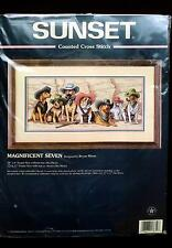 DIMENSIONS Magnificent Seven Cowboy Dogs Cross Stitch KIT #13659 OOP-Sealed