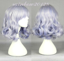 "16"" Silver Purple Mixed Muse_amaburiv Curly Medium Short Anime Cosplay Wig"