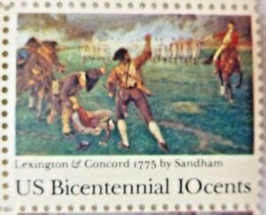 United States 10 Cents US Bicentennial Lexington Concord 1775 US Postage Stamps