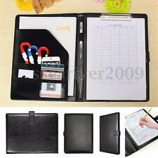 A4 Zipped Conference Folder Business PU Leather Document Organiser Portfolio Bag