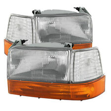 92-96 Bronco / F150 / F250 / F350 Clear Headlights + Corner + Amber Bumper Set
