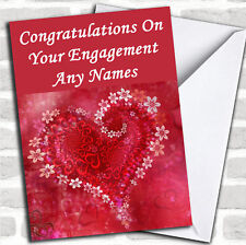 Red Flower Love Heart Romantic Engagement Customised Card