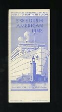 1935 Swedish American Line Schedule and Rate Brochure