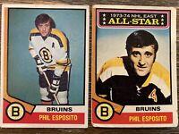 1974-75 Topps Hockey  Phil Esposito Boston Bruins HOF 2 Card Lot #129 and #200