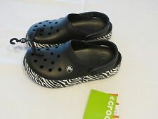 Crocs Mens Womens Crocband animal print clog shoe zebra black white M4 W6 mule