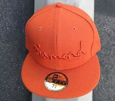 Diamond supply co. New Era 59Fifty Orange plain Skate Fitted hat 7 5.8 (60.6 cm)