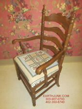 Tell City Tanbark Oak Ladderback Upholstered Seat Arm Chair Made in USA 1407