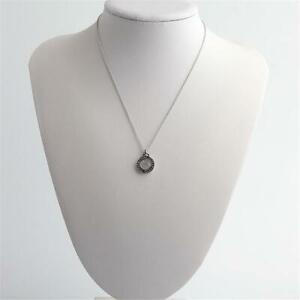 Michael Kors Flip Glitz Reversible Pendant Necklace  Silver Tone