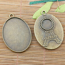 2pcs antiqued bronze color tower pattern cabochon settings EF2475