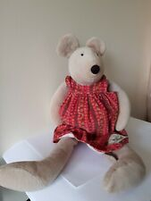 Moulin Roty La Grande Famille Nini Mouse soft toy in red floral cord dress 52cm