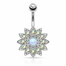 Paved Gems Flower Opal Belly Button Ring Pierced Navel IP 14kt Gold, Rose Gold